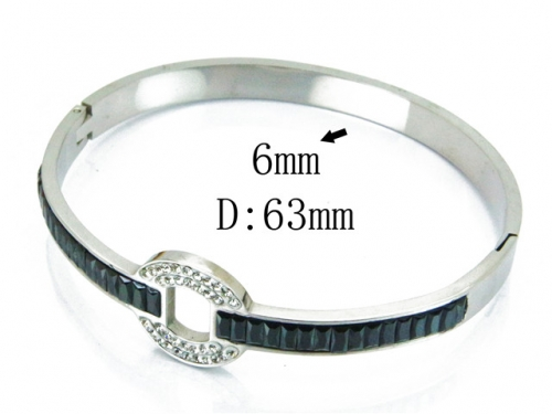 HY Wholesale Stainless Steel 316L Bangle(Crystal)-HY19B0004HOZ