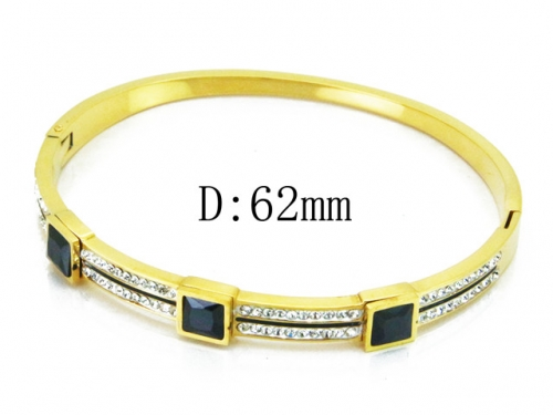 HY Wholesale Stainless Steel 316L Bangle(Crystal)-HY19B0031HOR